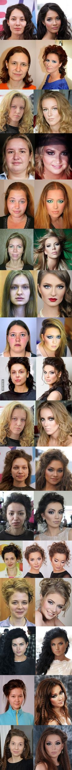 Women with and without makeup-this is almost scary... I can see why guys like chicks better with out make up...