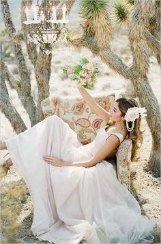 pink wedding dress, desert bridal shoot
