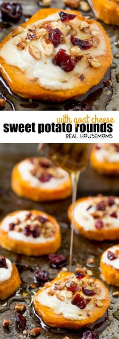Delight your holiday guests with Sweet Potato Rounds with Goat Cheese! They're loaded with fall flavors for the perfect party bite! via @realhousemoms