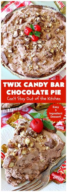 Twix Candy Bar Chocolate Pie | Can't Stay Out of the Kitchen | this luscious #ChocolatePie will rock your world! It uses only 5 ingredients including #TwixCandyBars! Amazing #dessert for #holidays or company. #pie #TwixCandyBarChocolatePie