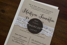 This invitation design is a perfect way to invite guests to your vintage, rustic, shabby chic, farm, or barn themed wedding. It is made with kraft