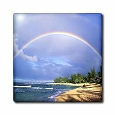"Double Rainbow In Kauai Hawaii - 6 Inch Ceramic Tile by 3dRose. $14.99. Thickness: 0.25"". Construction grade. Ceramic or glass tiles available.. Ceramic tile image is applied to the top surface and has a high gloss finish. Glass tile image is printed on underside of glass. Clean with mild detergent. Double Rainbow In Kauai Hawaii Tile is commercial quality. Construction grade, glossy finish tiles are produced from material clays and minerals into exceptionally reliab..."