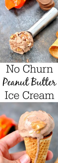 No Churn Peanut Butter Chocolate Ice Cream - My Suburban Kitchen - If you're looking for the perfect summer treat, this No Churn Peanut Butter Chocolate Ice Cream is it! Homemade ice cream doesn't get better than this delicious, easy recipe! Mini Desserts, Frozen Desserts, Just Desserts, Delicious Desserts, Dessert Recipes, Frozen Treats, Sweet Desserts, Peanut Butter Ice Cream, Peanut Butter Recipes