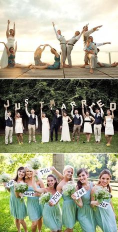 50 Must-See Creative & Fun Wedding Day Group Photos! - Praise Wedding - Classic bridal party and group photos are necessary, but after hours of standing perfectly composed, - Wedding Picture Poses, Wedding Photography Poses, Wedding Pictures, Party Photography, Photography Ideas, Funny Bridesmaid Pictures, Unique Wedding Poses, Wedding Group Photos, Photography Hashtags