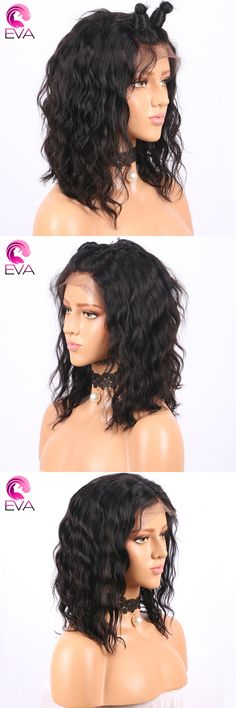 13x6 Deep Part Lace Front Human Hair Wigs Pre Plucked Hairline 150 Density Brazilian Remy Hair Short Bob Wigs With Baby Hair Eva