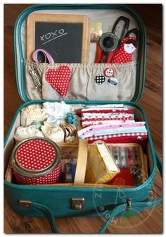 vintage suitcase sewing organiser