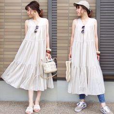 """@miho.a.nico on Instagram: """"コーデの記録😊 ・ @titivatejp さんの#ティアードノースリーブリラックスワンピース ❤︎ ベージュのストライプで優しい色合いがめっちゃ可愛い😍 ふわっと着れてめっちゃ楽ちん🎵 キャップ×デニムでカジュアルにも着れます🎵 ・ ・ ・ one-…"""" Shirt Dress, Shirts, Instagram, Dresses, Fashion, Vestidos, Moda, Shirtdress, Fashion Styles"""