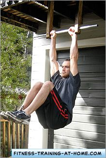 oblique exercises on a homemade pull up bar