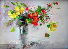 palette knife paintings of flowers - Google Search