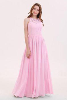 A-line Chiffon High Neck Pink Lace Bridesmaid Dresses BD062 150eb542316f