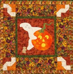 This quilt pattern teaches freezer paper applique, piecing, borders, binding and light embroidery. Finished Size: x Skill Level: Advanced Beginner. Halloween Quilts, Halloween Patterns, Fall Quilts, Quilt Patterns, Harvest, Applique, Kids Rugs, Embroidery, Creative