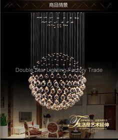 Moderne FÜHRTE Kugel K9 Kristall Lampe Duplex Treppen Luxus Villa Wohnzimmer  Runde Kugel Kristall Pendelleuchten