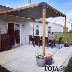Pergola Kit with SHADE SAIL for wood by Toja Grid is quick to assemble and is the perfect addition for any outdoor space. Deck Shade, Patio Sun Shades, Sun Sail Shade, Backyard Shade, Pergola Shade, Patio Shade Sails, Shade For Patio, Garden Shade, Diy Pergola