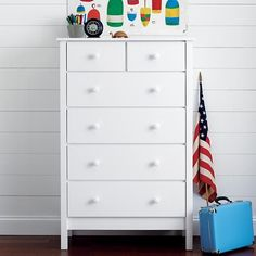 The Land of Nod   Kids' Dressers: Kids 2-Over-4 Drawer Painted White Simple Dresser in Simple Collection: