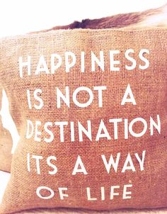 Happiness quote pillow