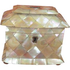 Regency Mother Of Pearl Shell Tea Caddy c1820 from motherofpearltreasures on Ruby Lane