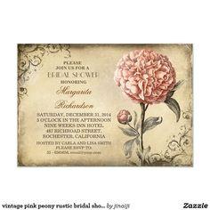 "vintage pink peony rustic bridal shower invitation 3.5"" x 5"" invitation card"