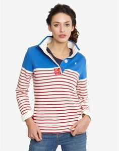 Joules COWDRAY Womens Striped Sweatshirt, Seablue. To the delight of wardrobes up and down the country, the Cowdray returns! A sweatshirt that was truly designed with the weekend in mind.