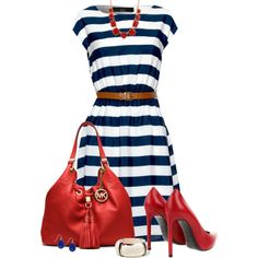 Nautical Striped Dress by daiscat on Polyvore featuring Iska, Yves Saint…