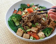 Soba Noodles with Tofu, Broccoli & Carrots. Going to try this with tempeh instead of tofu.