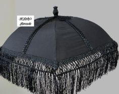 PURE SILK VICTORIAN Parasol Umbrella in Black Pure Silk, Satin Trim, Victorian Fringe Bridal Steampunk Funeral Edwardian Mourning Goth