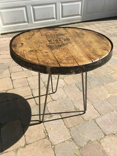 This is a one of a kind bourbon barrel top table. Made out of a genuine Kentucky bourbon barrel top. The top sets on made in the USA, hairpin style legs . Wine Barrel Crafts, Wine Barrel Rings, Dog Crate Furniture, Wine Barrel Furniture, Furniture Projects, Crate And Barrel, Barrel Projects, Industrial Table, Decoration