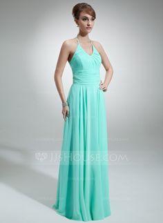 A-Line/Princess Halter Floor-Length Chiffon Bridesmaid Dress With Ruffle (007001756)