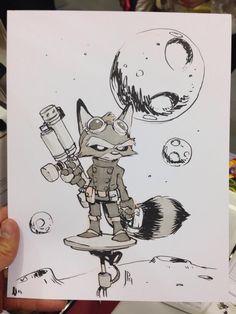 Jake Parker - Rocket Raccoon commission for a fan