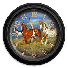 Reflective Art Wild Horses Wall Clock, Multicolor