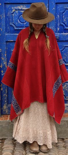 Vintage Peruvian  Red Alpaca Poncho  Only One by LivingAltar, $215.00     https://www.etsy.com/listing/121340982/vintage-peruvian-red-alpaca-poncho-only