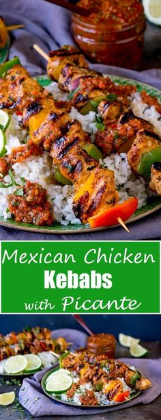 Mexican Chicken Skewers with Rice and Picante Salsa - perfect for Cinco De Mayo or any Friday night dinner! Gluten Free too!