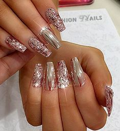 67 Ideas Nails Design Bright Products For 2019 Sparkle Nail Designs, Fall Nail Art Designs, Sparkle Nails, Simple Nail Designs, Bling Nails, Toe Designs, Rose Gold Nails, Metallic Nails, Glitter Nail Art