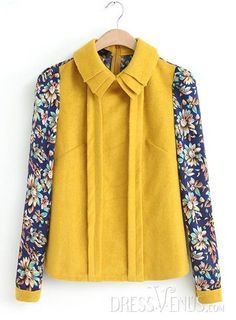 US$26.99 Charming Lapel Long Sleeves Cotton Print Blouse. #Blouses #Sleeves #Cotton #Lapel