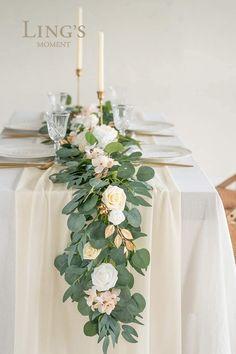 Bridal Shower Table Decorations, Bridal Shower Tables, Wedding Decorations, Bridal Showers, Table Decor Wedding, Wedding Table Runners, Long Table Wedding, Communion Decorations, Romantic Wedding Decor