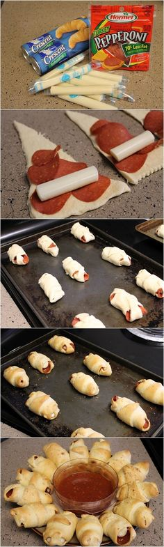 Pepperoni and Cheese Crescents. #Party #Holiday #Appetizer IT'S SO GOOD!