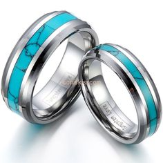 Tungsten Ring Synthetic Turquoise Inlay Mens Womens Engagement Wedding Band #Band