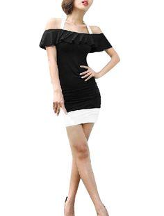 Va va voom! | Off Shoulder Stretchy Black & White Mini Dress $9