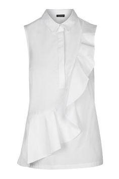 Short Sleeve Ruffle Shirt – Topshop Source by risstarabocchia Ruffle Shirt, Shirt Dress, Frilly Shirt, Ruffle Top, Camisa Oversized, Summer Work Wardrobe, White Short Sleeve Shirt, Topshop Shorts, Moda Chic