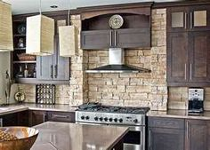 Backsplash ideas for kitchen.. I like the dark cabinets with light backsplash and counter top.