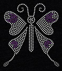 Butterfly in Purple Rhinestone T Shirt