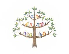 """""""Little Colorful Birds on Tree"""" −RiLi, picture book, illustration, design ___ """"色とりどりの小鳥たちのいる木"""" −リリ, 絵本, イラスト, デザイン ...... #illustration #bird #colorful #tree #イラスト #鳥 #色 #木"""