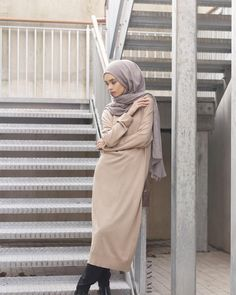 INAYAH | Camel High Neck #Jumper +Black Crossover #Trousers + Ash Modal #Hijab www.inayahcollection.com
