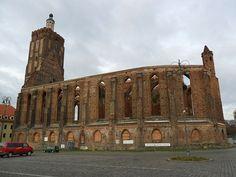 The ruins of gotic parish church, burn out in 1945. Gubin / Poland