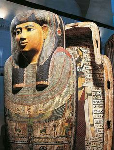 Sarcophagus of woman named Udjarenes from Ptolemaic Period of Ancient Egypt.