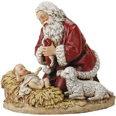 Kneeling Santa is a great way to teach young ones the true meaning of Christmas. Santa kneeling in prayer before the Christ Child helps us focus on what truly is important - God's Greatest Gift, His Son Jesus. Kneeling Santa available in 2 sizes at the Leaflet Missal