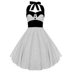Vintage Halterneck Polka Dot A-Line Dress For Women (WHITE,M) in Vintage Dresses | DressLily.com
