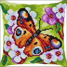 Coussin point de croix Joli papillon - Orchidéa