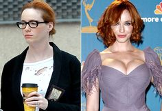 Christina Hendricks--not a Photoshop comparison, just professional makeup, clothes, and hair versus an everyday look. Comforting to see stars looking like everybody else. Christina Hendricks, Celebs Without Makeup, Star Makeup, No Photoshop, Makeup Photoshop, Airbrush Makeup, Photo Makeup, Beauty Industry, Celebrity Look