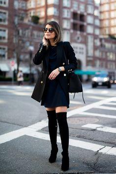 Pam Hetlinger wearing a Nordstrom Dress, Reiss Jacket, Over-the-Knee Boots, Celine Belt Bag, and Prada Sunglasses.