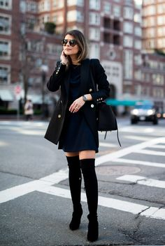 Pam Hetlinger wearing a Nordstrom Dress, Reiss Jacket, Over-the-Knee Boots, Celine Belt Bag, and Prada Sunglasses.